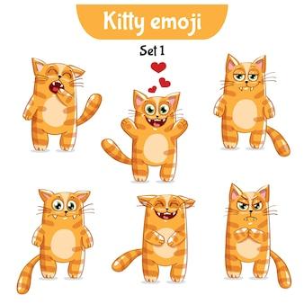 セットキットコレクションステッカー絵文字絵文字感情ベクトル孤立したイラスト幸せなキャラクター甘い、かわいい赤い猫