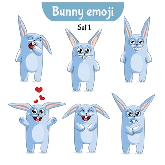 Set kit collection sticker emoji emoticon emotion vector isolated illustration happy character sweet, cute white rabbit, bunny, hare.