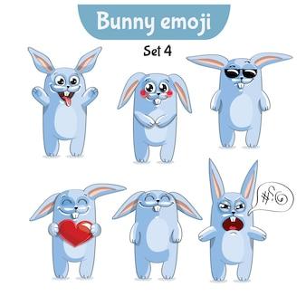 키트 컬렉션 스티커 이모티콘 감정 벡터 격리 된 그림 행복 문자 달콤한, 귀여운 흰 토끼, 토끼, 토끼를 설정합니다.
