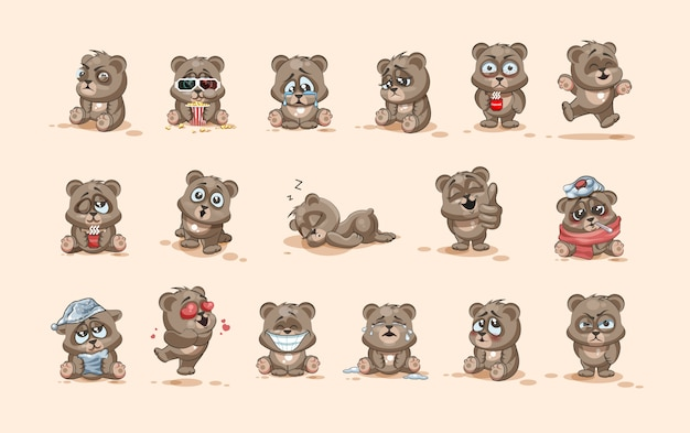 Set kit collection  stock illustrations isolated emoji character cartoon bear stickers emoticons with different emotions