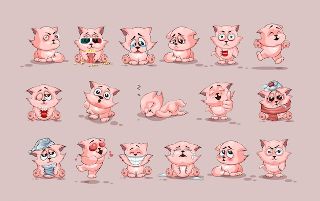 Набор комплект коллекции фондовой иллюстрации изолированных emoji персонаж мультфильма cat наклейки смайлики с разными эмоциями