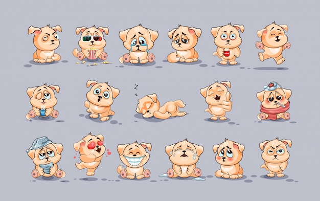 Set kit collection  stock illustrations isolated emoji character cartoon dog stickers emoticons with different emotions