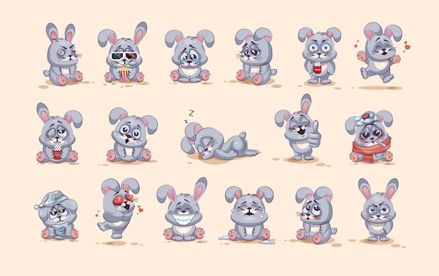 Set kit collection  stock illustrations isolated emoji character cartoon gray leveret stickers emoticons with different emotions