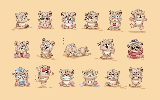 Set kit collection  stock illustrations isolated emoji character cartoon leopard cub sticker emoticons with different emotions