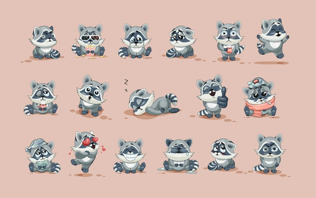 Set kit collection vector stock illustrations isolated emoji character cartoon raccoon cub sticker emoticons with different emotions