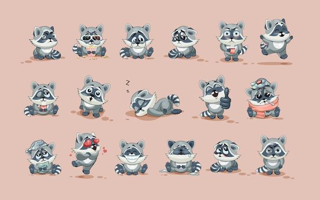 Набор комплект коллекции вектор фондовой иллюстрации изолированных emoji персонаж мультфильма енот детеныш стикер смайлики с разными эмоциями