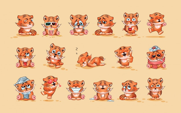 Set kit collection vector stock illustrations isolated emoji character cartoon tiger cub sticker emoticons with different emotions