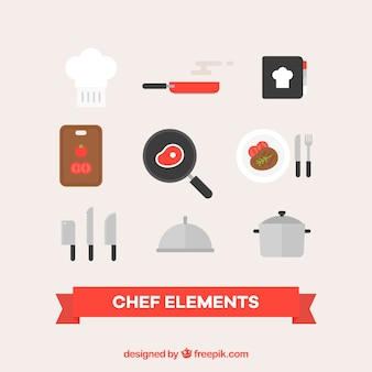 Set di accessori da cucina in design piatto