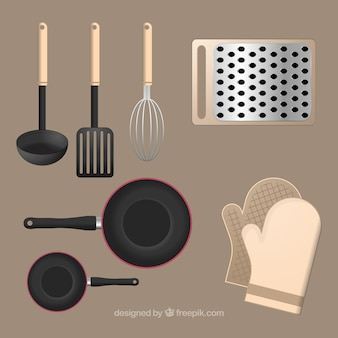 Set di accessori da cucina in stile realistico