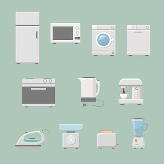 Set of kitchen appliances flat style with a washing machine