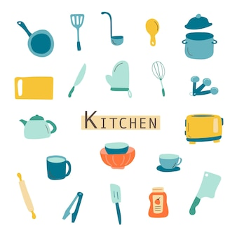 Set kitchen appliances related vector  icons