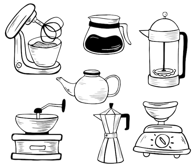 Set of kitchen electronic tools. line art. mixer, scales, coffee grinder, geyser coffee maker, kettle, french press. kitchen equipment. vector illustration isolated on white background.