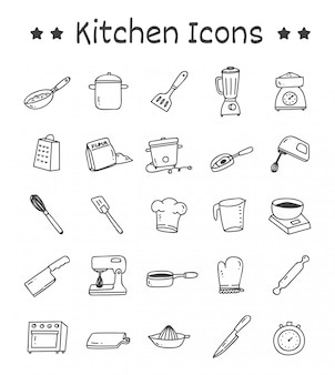 Set of kitchen icons in doodle style