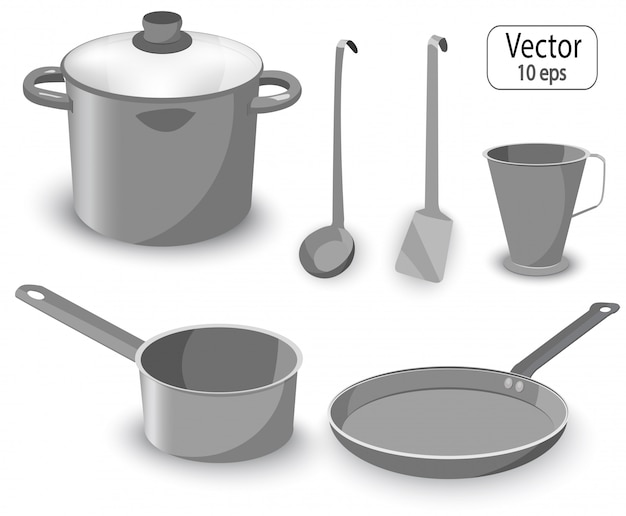 Set of kitchen items for cooking. pan, saucepan, frying pan.
