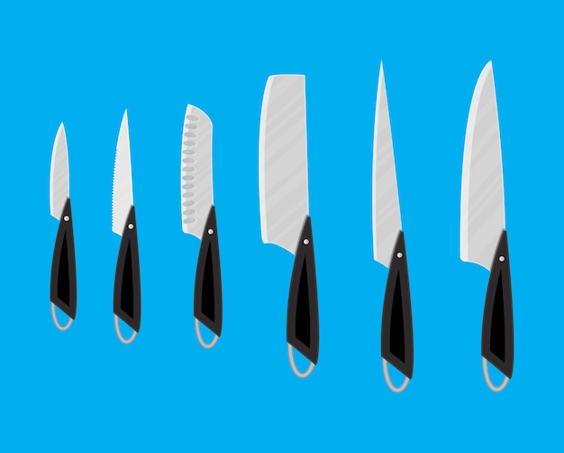Set of kitchen knives for various products