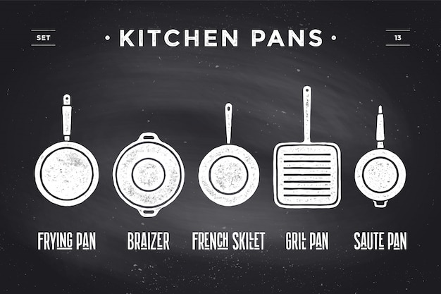 Set of kitchen pans. poster kitchenware - pans, grill, pot