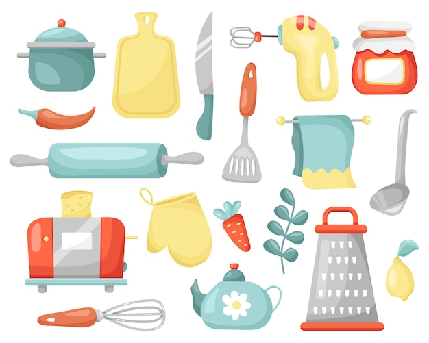 Set of kitchen tools for cooking.