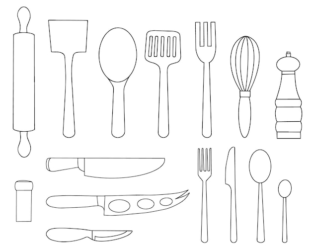Set of kitchen tools and cutlery for meals