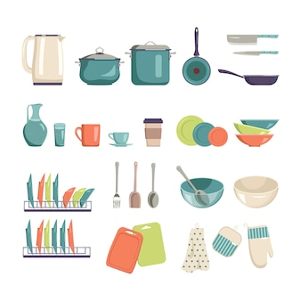 A set of kitchen utensils for cooking and eating. bright and stylish items for home, cafe or restaurant