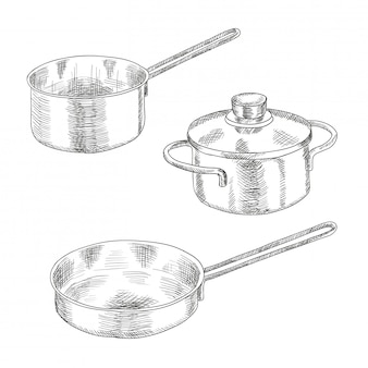 Set of kitchen utensils for cooking.