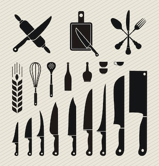 Set of kitchen utensils icon in flat design style