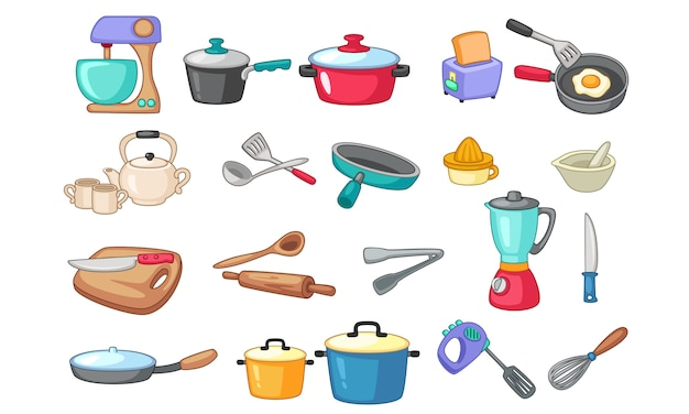 Set of kitchen utensils illustration
