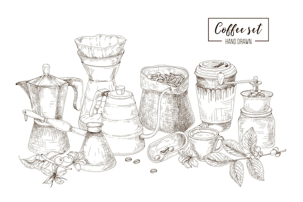 Set of kitchen utensils and tools for coffee making and drinking - moka pot, turkish cezve, kettle with long spout, glass dripper, grinder, paper cup. hand drawn vector illustration in etching style.