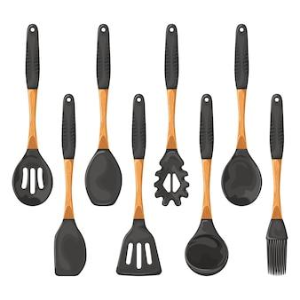 Set of kitchen utensils with wooden handles