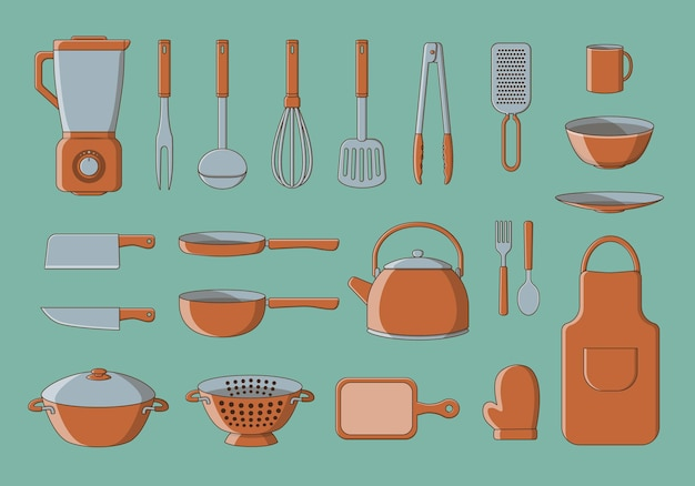 Set of kitchen utilities