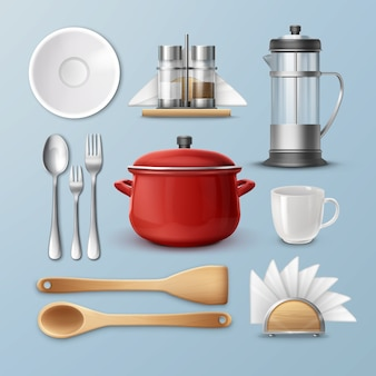 Set of kitchenware: dishes, flatware and utensil