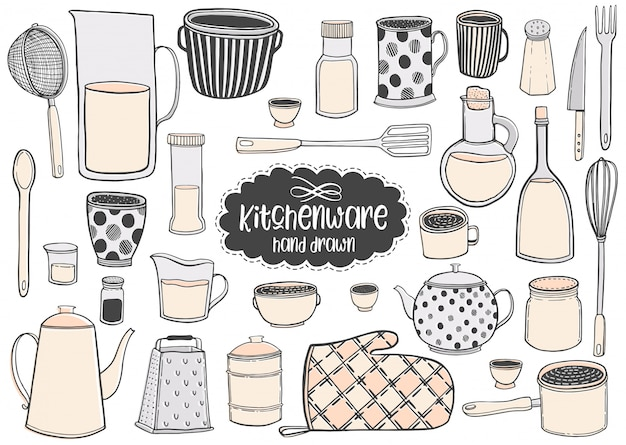 Set of kitchenware hand drawn vector illustrations drawing.