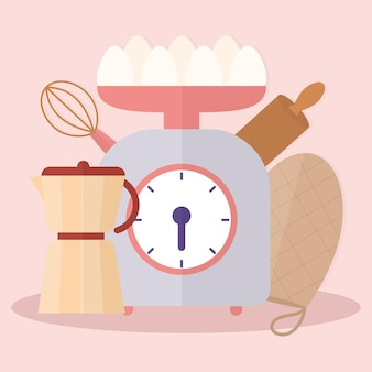 Set of kitchenware icons over a pink background