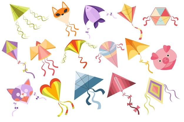 Set of kites, cartoon kid toys vector icons. colorful flying fox, cat and fish, heart, rhombus or pig bright winged toys