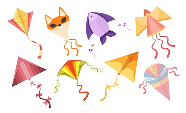 Set of kites, colorful cartoon angel, fish or fox flying toys made of paper or fabric. kid playing objects for game