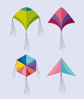 Set of kites flying icon
