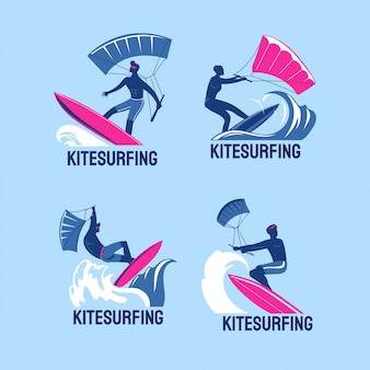 Set of kitesurfing boys flying over the waves