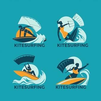 Set of kitesurfing girls flying over the waves