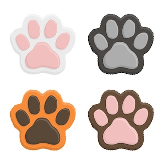 Set kitten paws. animal cat paw print in flat style isolated on white background.