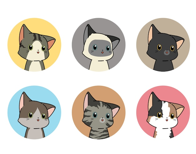 Set of kitty stickers in cartoon style