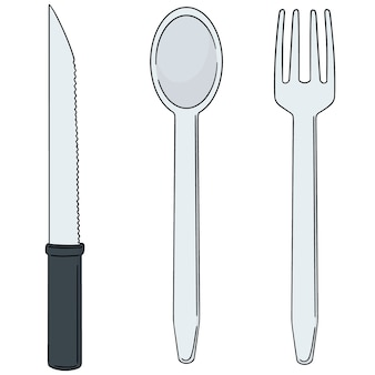 Set of knife, spoon and fork