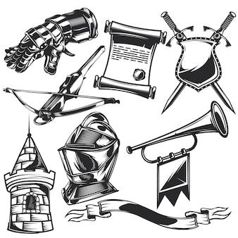 Set of knight elements for creating your own badges, logos, labels, posters etc.