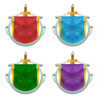 Set of knight flag icons with metallic decoration