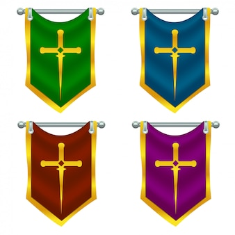 Set of knight flags with sword