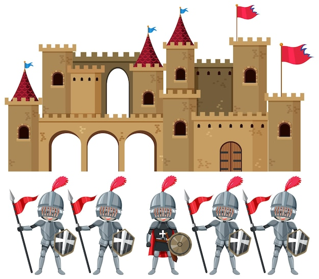 Set of knights and castle medieval age