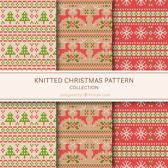 Set of knitted christmas patterns