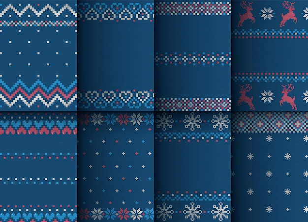 Set of knitted prints with new year's ornament