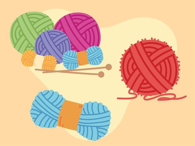 Set knitting balls of wool
