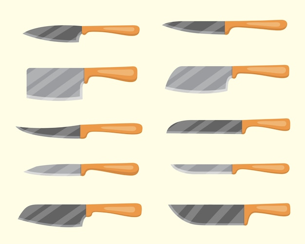 Set of  knives for butcher shop. kitchen knive and cutter. utensils for cooking, kitchenware, and weapon knifes.