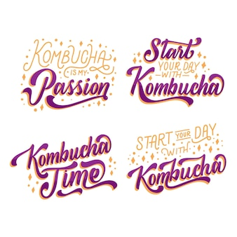 Set of kombutcha tea lettering
