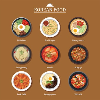 Set of korean food flat design. asia street food